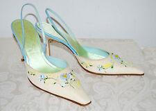 New $480 RENE CAOVILLA Natural Linen Slingback Sandals Embroidered 41 US11 (10)