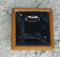 VTG Ruby Red Ashtray with Wooden Frame MCM Mid Century Glass Ashtray Wood