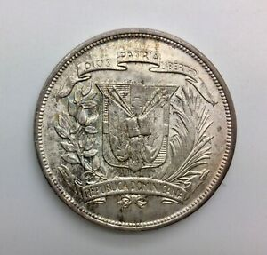 1952 Dominican Republic One Peso KM#22 Lt  Toning Blazing Lustre Very Nice Coin