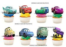 24 Disney Cars STAND UP Cupcake Fairy Cake Topper Edible Rice Paper Decoration