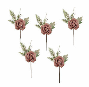 5 x Pink Rose & Foliage Pick Flower Decorations Fabric with Sparkle Finish