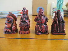 "4 Vintage Shichifukujin Lucky Gods Japanese Red Resin 3"" tall Great Condition"