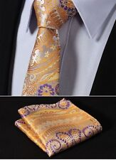 Mens Tie in Satin Orange Purple Yellow Wedding Floral Paisley Silk & Free Hanky