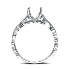 Round Cut 8mm Semi Mount Ring 0.06ct Natural Diamonds Solid 10K White Gold