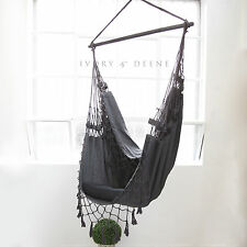 Hanging HAMMOCK CHAIR French Provincial Relax in Luxury & Comfort Charcoal Grey