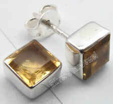 CITRINE 6 MM Square Shape GEMSTONE 925 SOLID Silver Studs Earrings 0.3 Inch