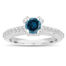 0.80 Carat 14K White Gold Unique Enhanced Fancy Blue Diamond Engagement Ring
