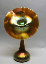 """Massive & Rare Iridized 15"""" QUEZAL ART GLASS """"Jack-in-the-Pulpit"""" Vase   antique"""