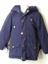 BOYS LYLE & SCOTT AGE 3-4 YEARS BLUE HOODED PADDED QUILTED COAT JACKET KIDS