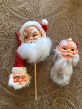 Vintage Santa Claus Old World Rubber Head Picks Lot Of 3