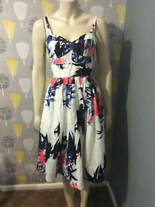 Floral Dress Size 14 Ladies Women's Strappy White And Blue With Empire Waist