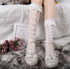 Cute Lolita Kawaii Lace Bow Thigh High Stocking Dance Socks Cosplay