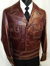 Vtg 70's Men MOTORCYCLE Leather MoD BUCKLE MOTO Jacket CAFE RACER CAR Coat 40 R