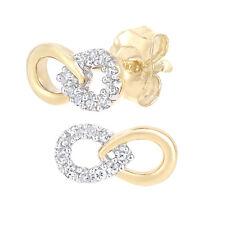 Naava 9ct Yellow Gold Diamond Infinity Stud Earrings