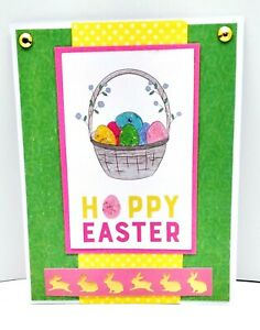 HOPPY EASTER Basket Of Eggs Holiday Greeting Card - Handmade A7 Size