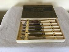 LOVELY BOXED SET OF 6 IVORINE HANDLED TEA KNIVES (ENSEE Ltd. Sheffield) {TK 797}