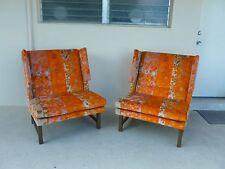 Pair 60'S Dunbar Edward Wormley Winged Club Chairs W Jack Lenor Larsen Fabric
