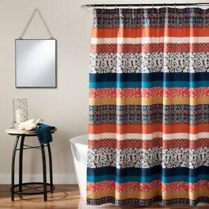 "LUSH DECOR Boho Stripe Shower Curtain | Turquoise | 72"" x 72"" | 🆕"
