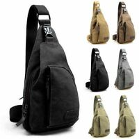 Men's Shoulder Bag Sling Chest Pack Canvas Outdoor Sports Crossbody Handbag