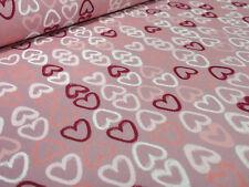 Stoff Baumwolle Jersey Herzen rosa orange bordeaux weiß Kleiderstoff