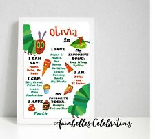 Hungry Caterpillar Birthday Personalised First Milestone Print Party Decoration
