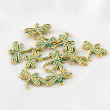 10pcs Dragonfly Bronze Green Charms Bead Pendant DIY Necklace Jewelry 15*17mm