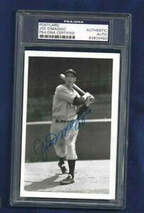 Joe DiMaggio Autographed Brace Postcard Photo NY Yankees Baseball PSA SLABBED