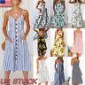 Women Summer Holiday Sleeveless Floral Strapped Dress Beach Button Midi Sundress