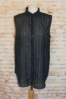 H&M sheer shirt size 14 sleeveless collared loose fit black geometric print