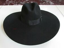 17cm big brim Fashion Stage Cool Vintage Cowboy Western 100% wool felt hat  Cap fdc9a8f2b534