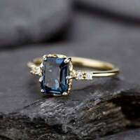 2Ct Emerald Cut Blue Diamond Solitaire Engagement Ring 14K Yellow Gold Finish