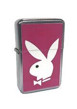 Pink Playboy Bunny Flip Top Chrome Oil Lighter Wind Resistant Flame