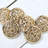 Chanel Buttons 6pc CC Gold 21mm Vintage Style 6 Buttons unstamped AUTH!!!