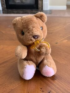 "Vintage Russ Berrie Bibi Baby Brown Teddy Bear Diaper Pacifier Stuffed Plush 8"""