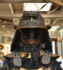 ANTIQUE JAPANESE OLD SAMURAI SUIT OF ARMOR COMPLETE WITH KABUTO HELMET W/ MADATE