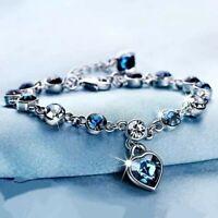 Ocean Heart Austrian Crystal Womens Adjustable Chain Bracelet
