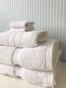 SET OF 5 Luxury White Bath Towels 100% Egyptian Cotton By Exclusive Linens