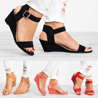 Women's Buckle Wedge Slingback Sandals Casual Open Toe Flats Shoes Size 5-8.5