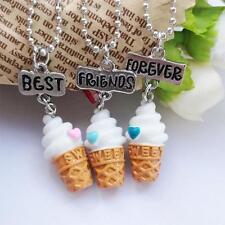 3pcs Best Friends Forever Vanilla Ice Cream Cone Necklace Set Cute Friendship