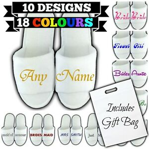 PERSONALISED SPA SLIPPERS BAG OPEN TOE ANY NAME MESSAGE GIFT WEDDING GUEST BRIDE