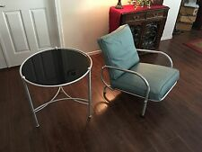 Vintage Warren McArthur table and chair rare original matte glass table top