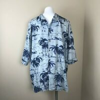PUSSER'S ISLAND STYLE XL SILK BLEND  BLUE BAMBOO PRINT MEN'S HAWAIIAN SHIRT