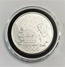 2005 SilverTowne Christmas Bear and Penguin Pushing a Sleigh 1 Troy oz. .999 Sil