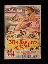 MEUS AMORES NO RIO * SUSANA FREYRE * ARGENTINE 1sh MOVIE POSTER 1959 * BAYON ART