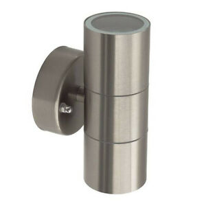 Haus und Garten fassede Außenwandleuchte Silber gebürstet 2X GU10 220V IP44