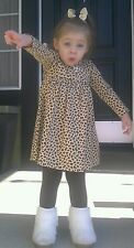 EUC Le Top Beige & Black Leopard Print Dress & Leggings 24 Months Worn Once