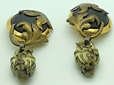 Tu Khan Firenze Earrings Clip On Drop Dangle Italian Designer Modern MCM 70s