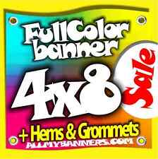 4x8 Printed Full Color Custom Banner Sign * Outdoors* +grommets +hems AMBSP