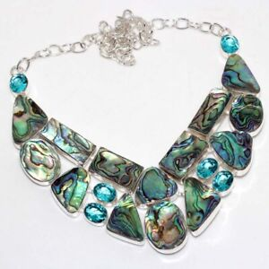 """Abalone Shell Blue Topaz 925 Silver Plated Big Cluster Necklace 18"""" GW"""