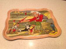 Vintage Tin Litho Tea Set Tray Pinocchio Geppetto Ohio Art RARE Find Antique
